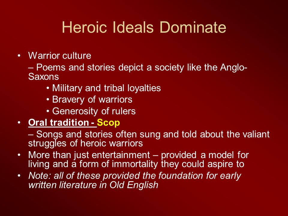 Heroic Ideals Dominate