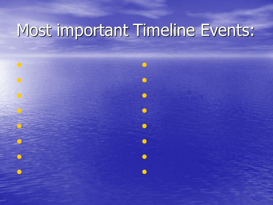 Most important Timeline Events: