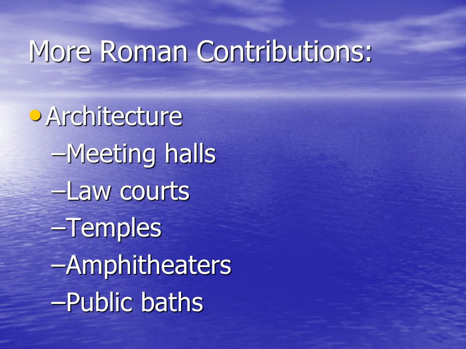 More Roman Contributions: