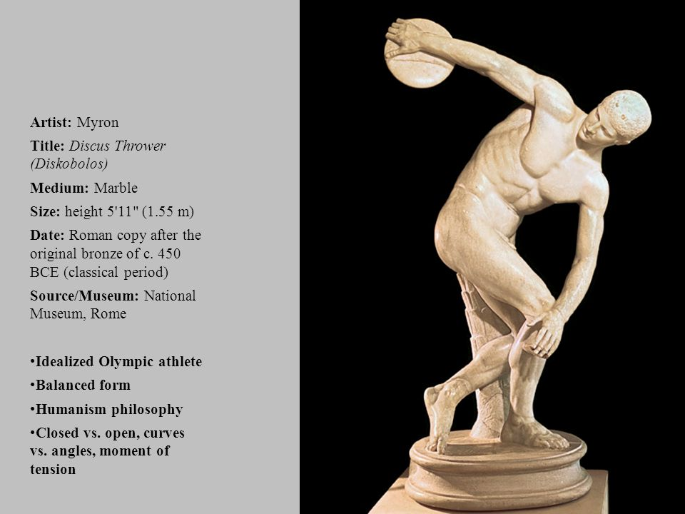 Title: Discus Thrower (Diskobolos) Medium: Marble
