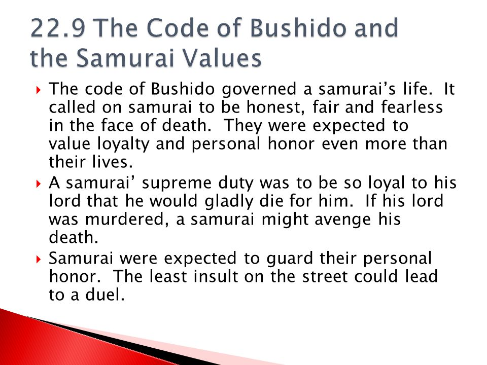 22.9 The Code of Bushido and the Samurai Values