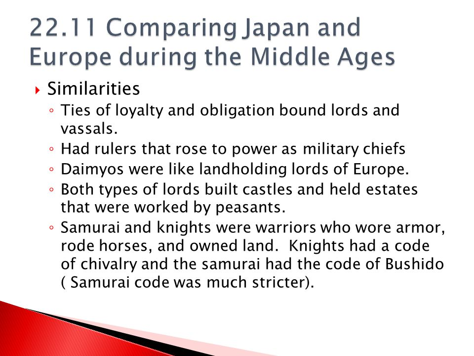 22.11 Comparing Japan and Europe during the Middle Ages