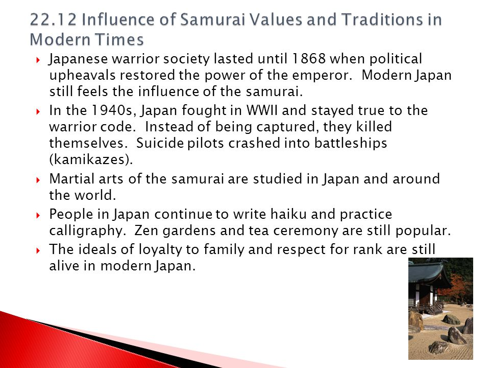 22.12 Influence of Samurai Values and Traditions in Modern Times