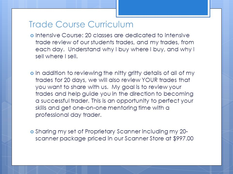 Trade Course Curriculum