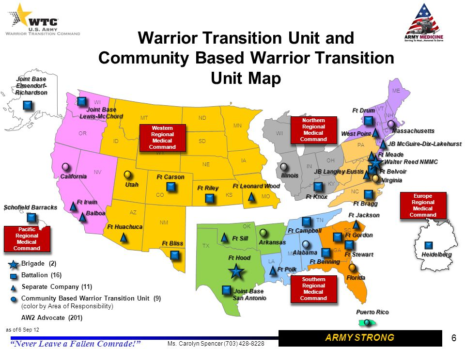 Warrior Transition Unit and Community Based Warrior Transition Unit Map