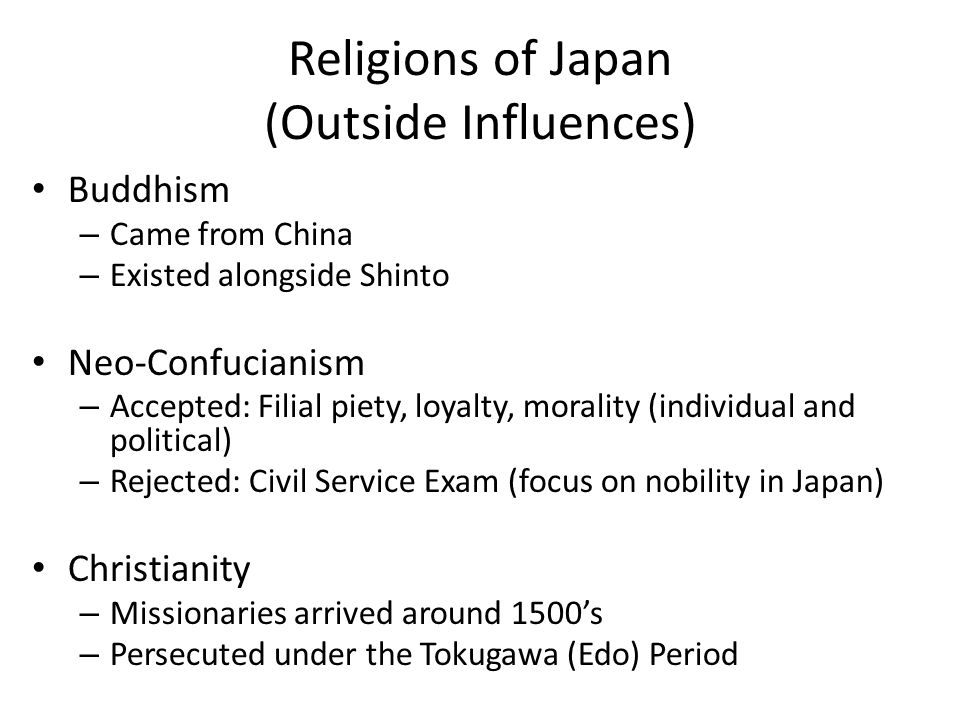 Religions of Japan (Outside Influences)