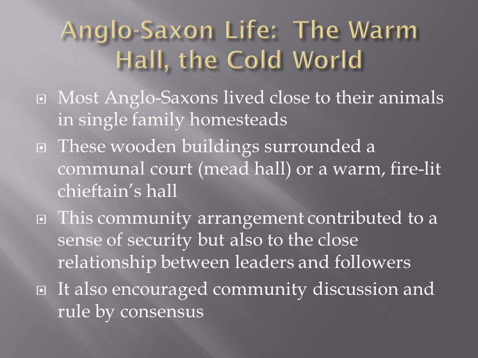 Anglo-Saxon Life: The Warm Hall, the Cold World