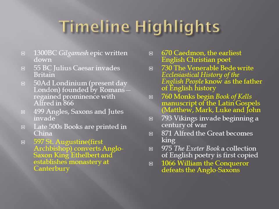Timeline Highlights 1300BC Gilgamesh epic written down