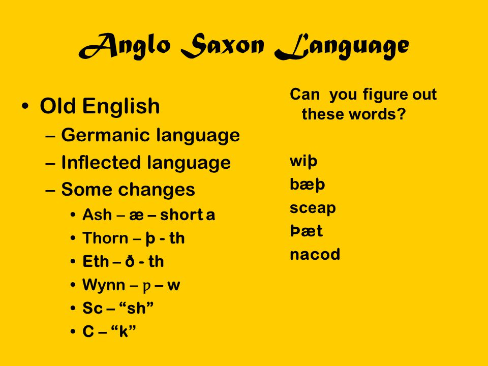 Anglo Saxon Language Old English Germanic language Inflected language