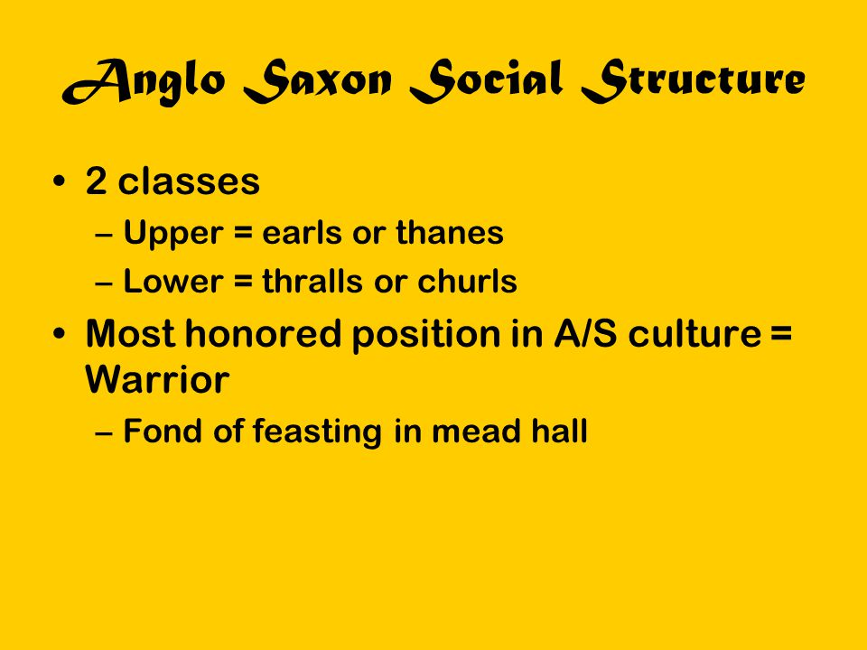 Anglo Saxon Social Structure