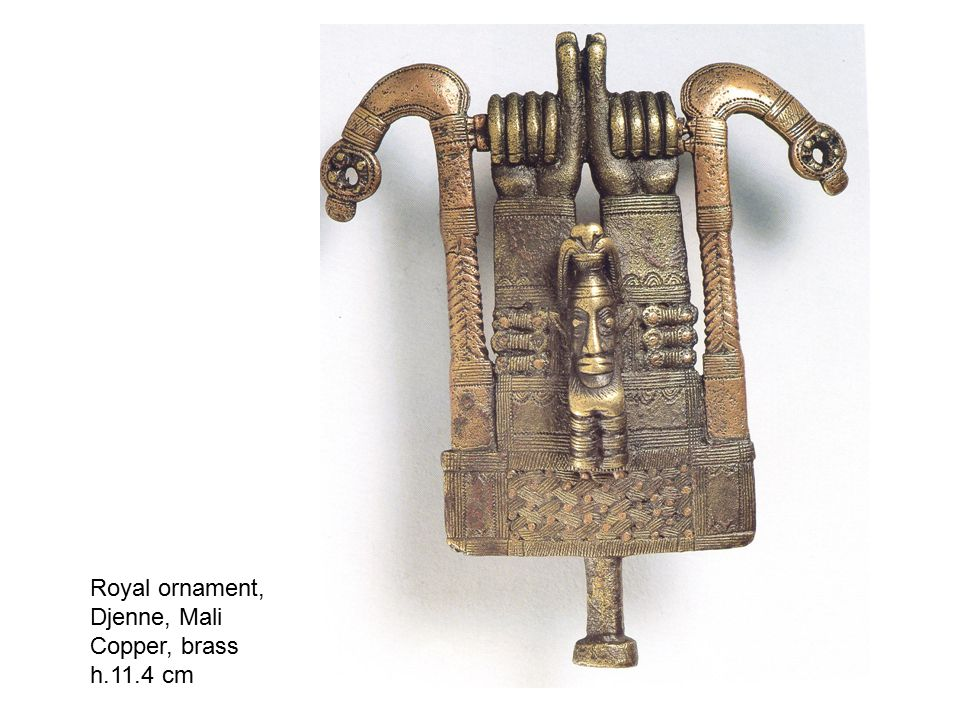 Royal ornament, Djenne, Mali Copper, brass h.11.4 cm