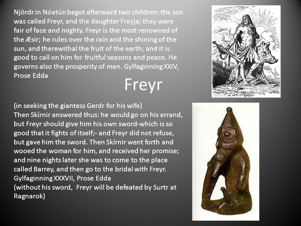 Njördr in Nóatún begot afterward two children: the son was called Freyr, and the daughter Freyja; they were fair of face and mighty. Freyr is the most renowned of the Æsir; he rules over the rain and the shining of the sun, and therewithal the fruit of the earth; and it is good to call on him for fruitful seasons and peace. He governs also the prosperity of men. Gylfaginning XXIV,