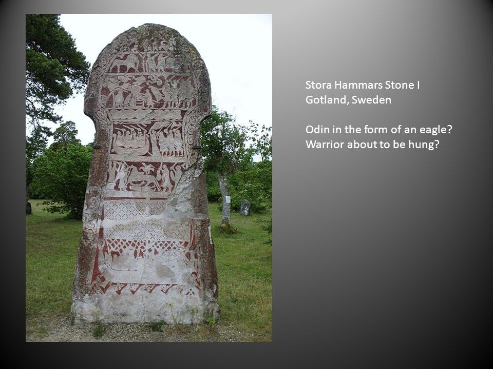 Stora Hammars Stone I Gotland, Sweden Odin in the form of an eagle Warrior about to be hung