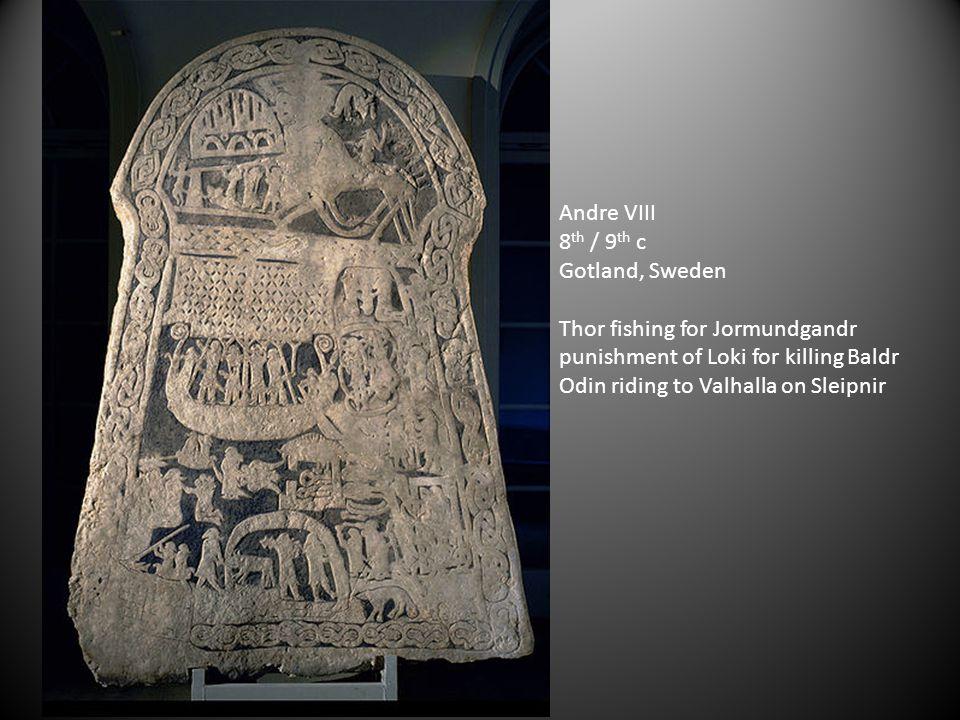 Andre VIII 8th / 9th c. Gotland, Sweden. Thor fishing for Jormundgandr. punishment of Loki for killing Baldr.