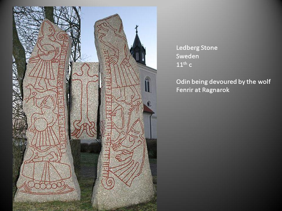 Ledberg Stone Sweden 11th c Odin being devoured by the wolf Fenrir at Ragnarok