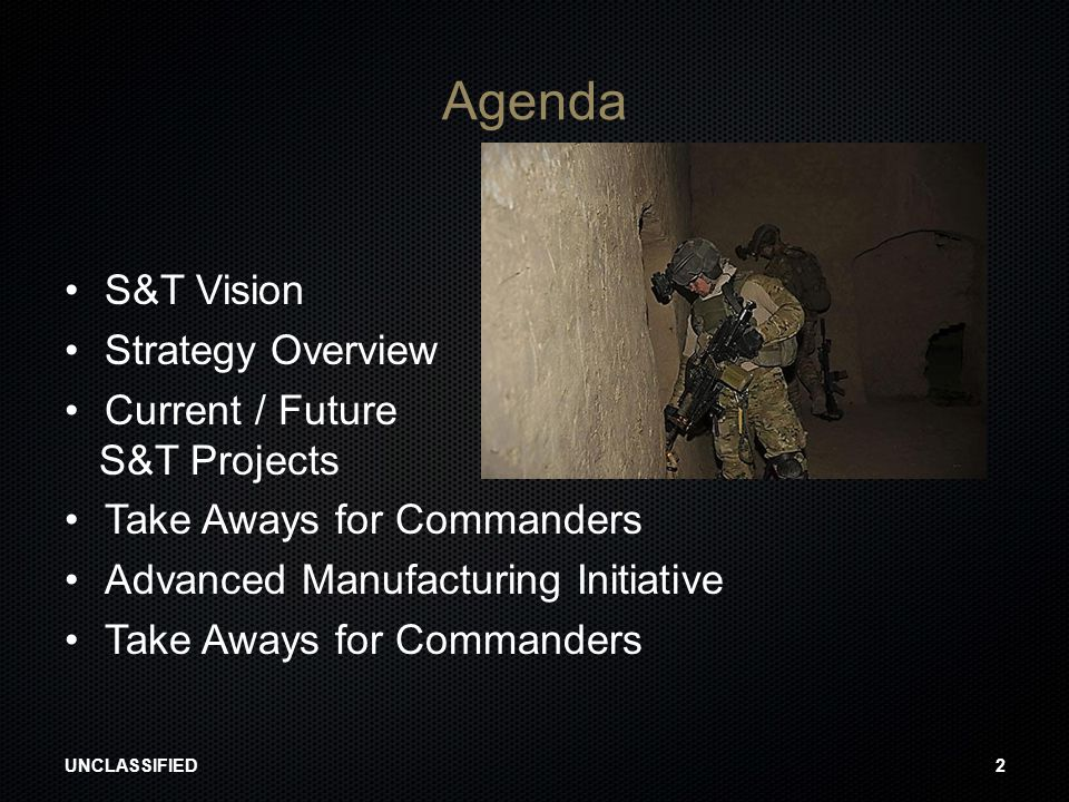 Agenda S&T Vision Strategy Overview Current / Future S&T Projects