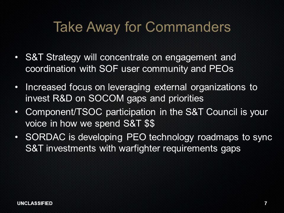 Take Away for Commanders