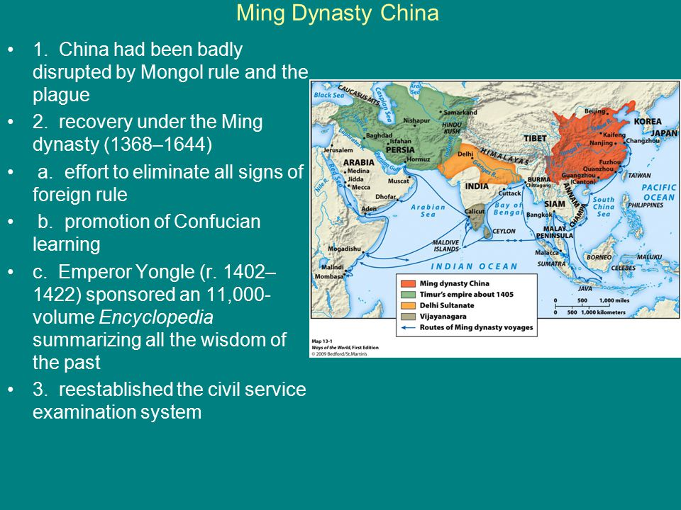 Ming Dynasty China 1. China had been badly disrupted by Mongol rule and the plague 2. recovery under the Ming dynasty (1368–1644)