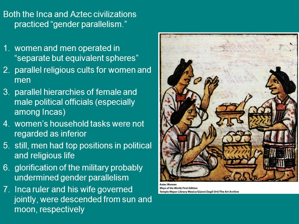 Both the Inca and Aztec civilizations practiced gender parallelism