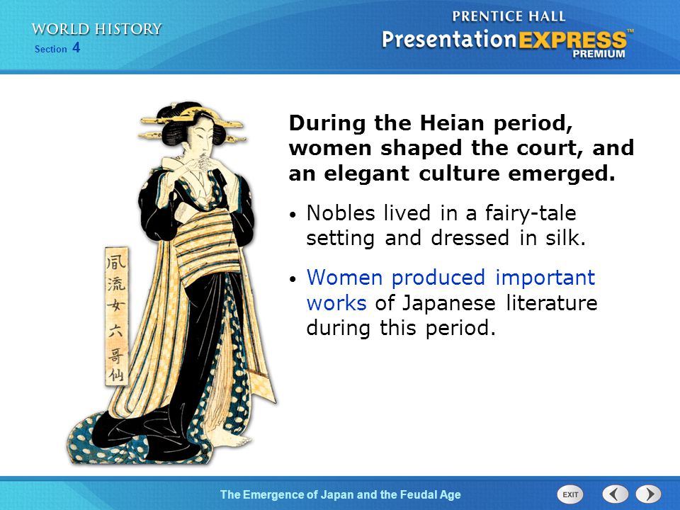 During the Heian period, women shaped the court, and an elegant culture emerged.