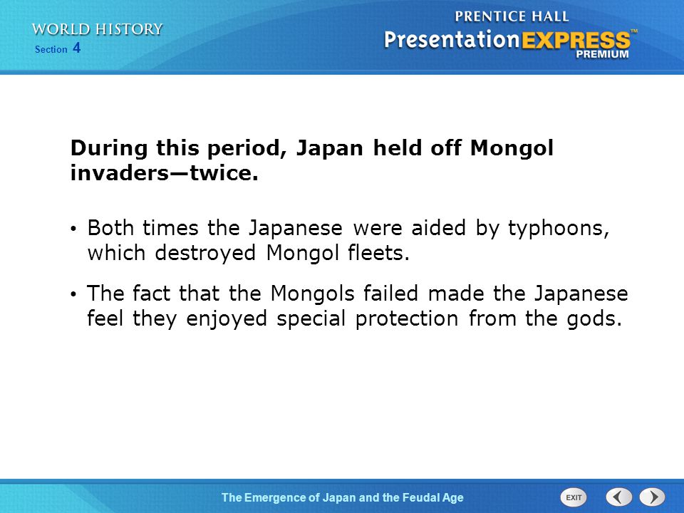 During this period, Japan held off Mongol invaders—twice.