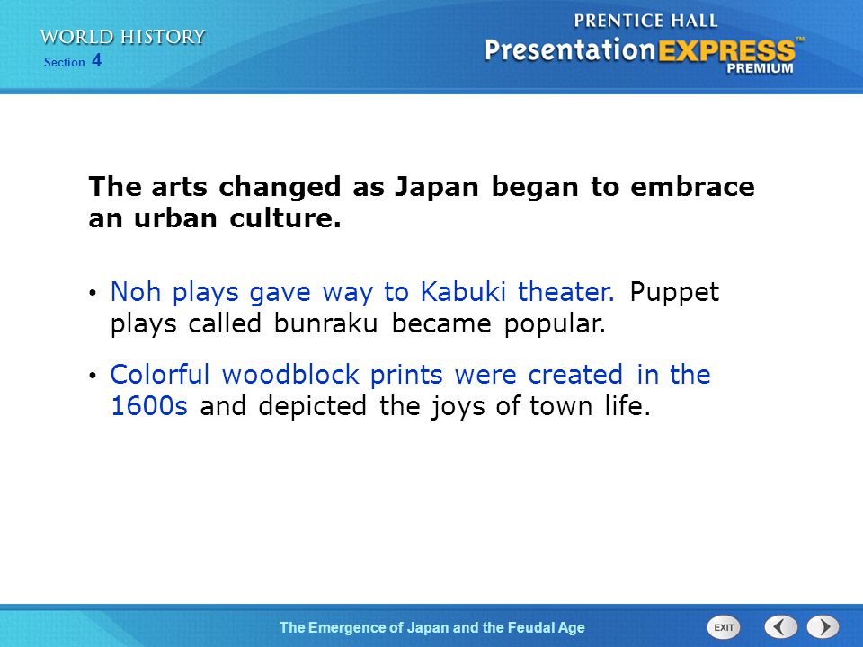 The arts changed as Japan began to embrace an urban culture.