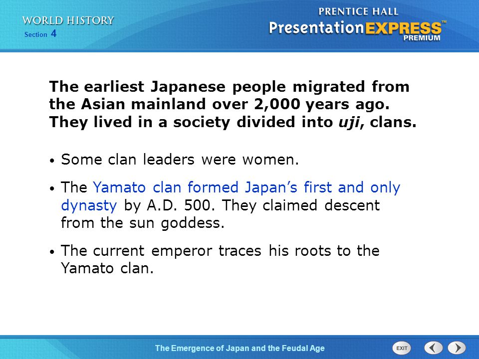 The earliest Japanese people migrated from the Asian mainland over 2,000 years ago. They lived in a society divided into uji, clans.