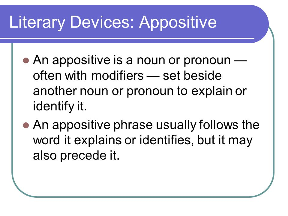 Literary Devices: Appositive