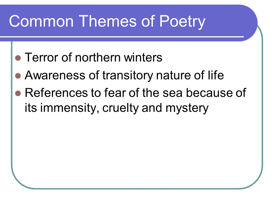 Common Themes of Poetry