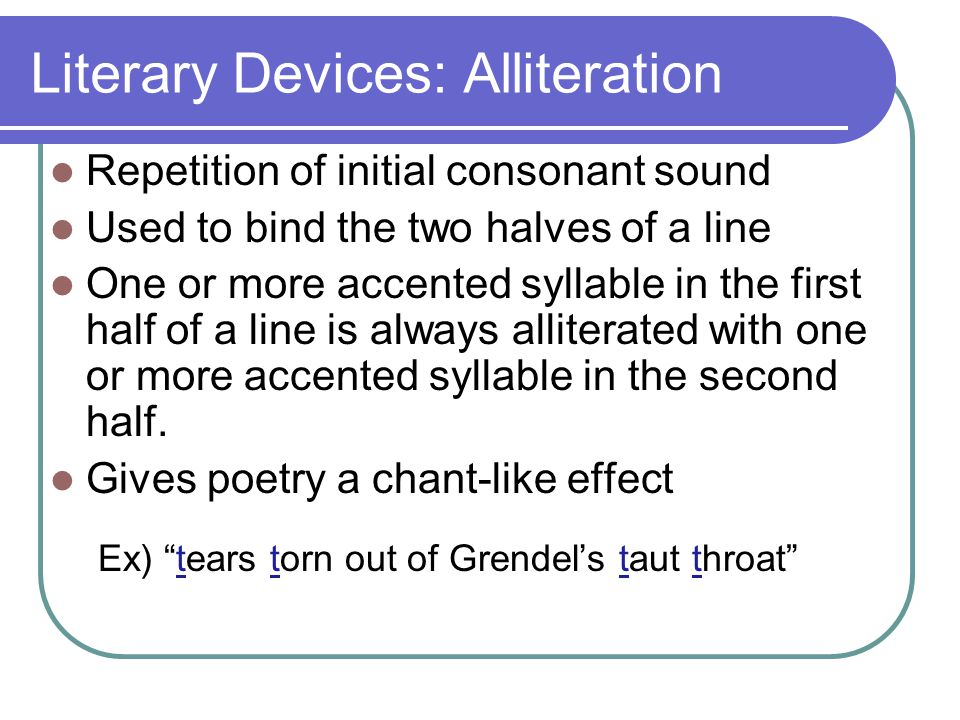 Literary Devices: Alliteration