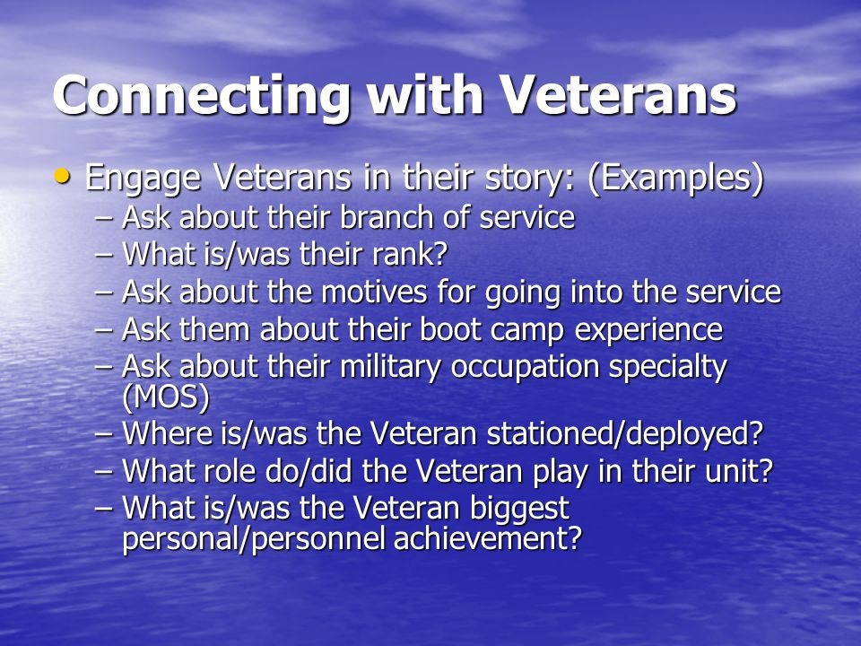 Connecting with Veterans
