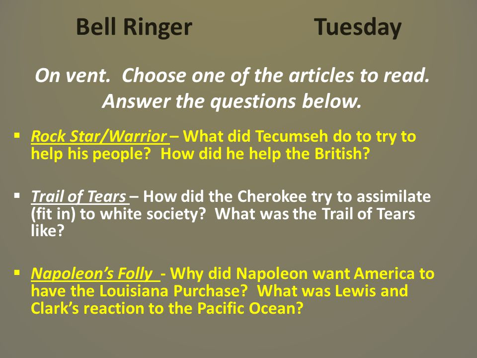 Bell Ringer Tuesday On vent. Choose one of the articles to read.