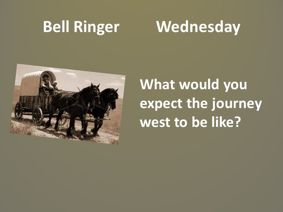 Bell Ringer Wednesday What would you expect the journey west to be like