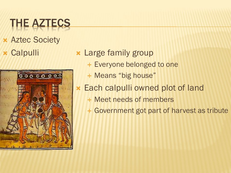 The Aztecs Aztec Society Calpulli Large family group