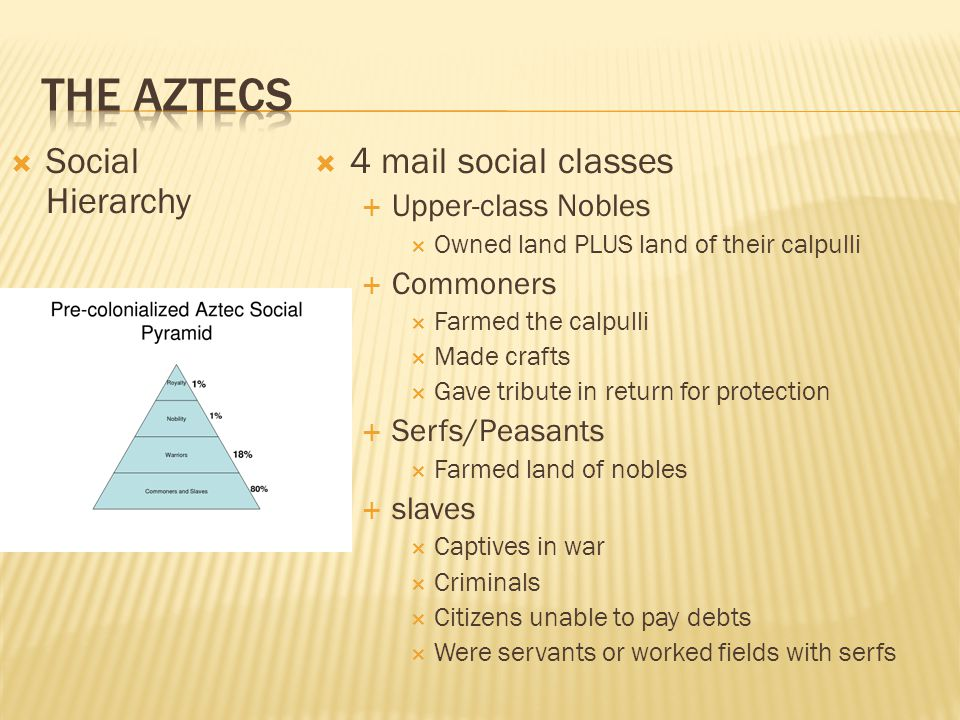 The Aztecs Social Hierarchy 4 mail social classes Upper-class Nobles
