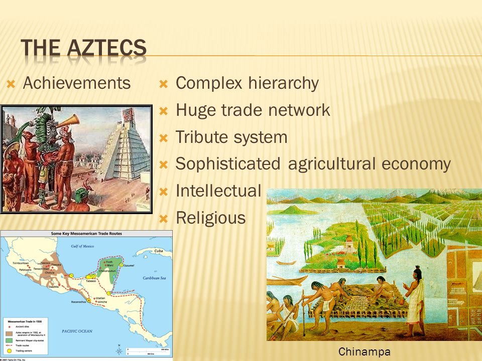 The Aztecs Achievements Complex hierarchy Huge trade network
