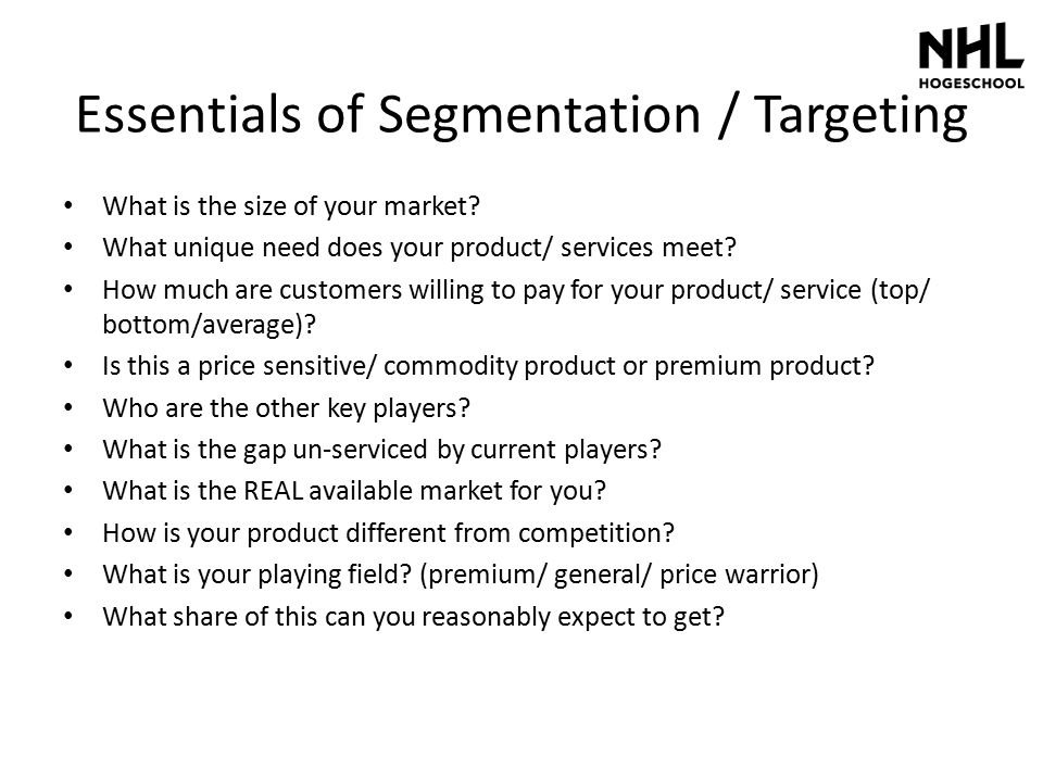 Essentials of Segmentation / Targeting