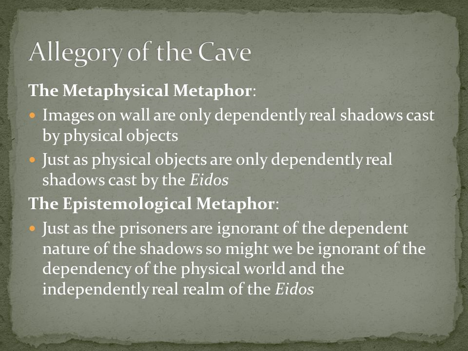 Allegory of the Cave The Metaphysical Metaphor: