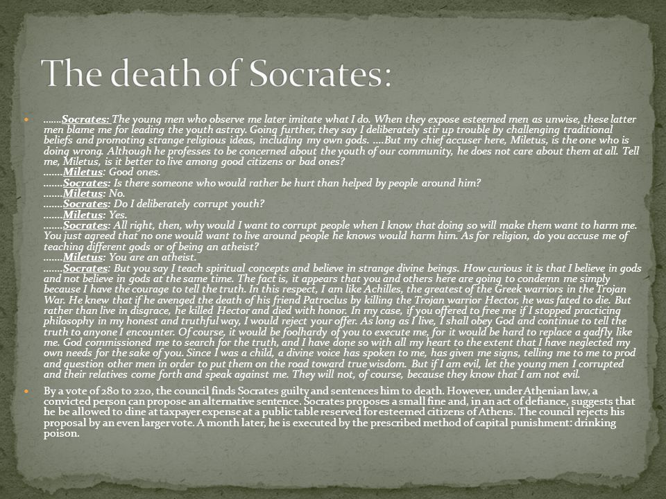 The death of Socrates: