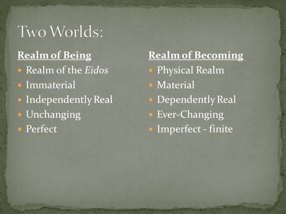 Two Worlds: Realm of Being Realm of the Eidos Immaterial