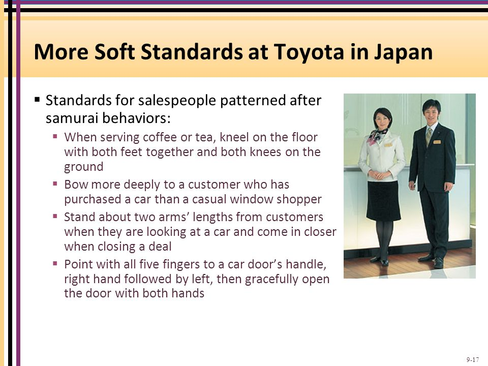 More Soft Standards at Toyota in Japan
