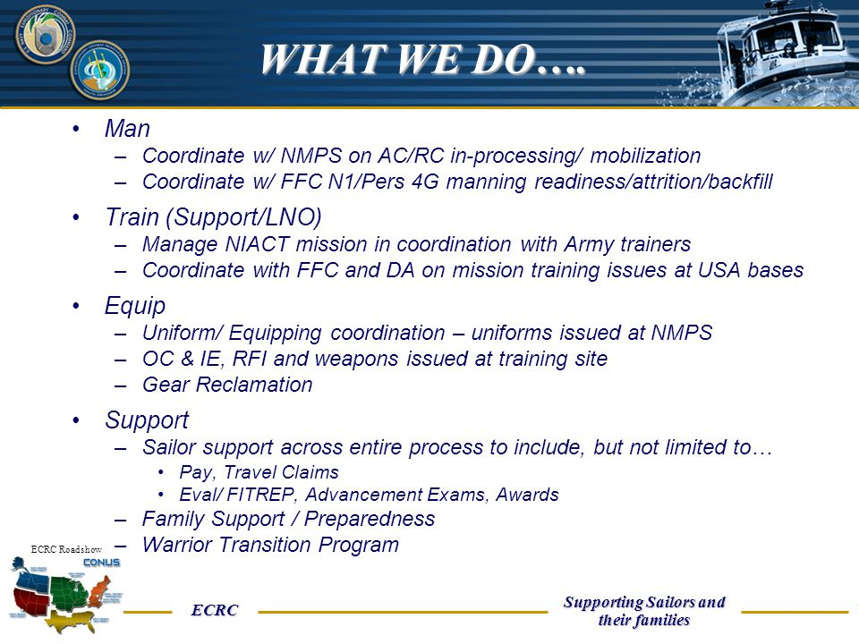 WHAT WE DO…. Man Train (Support/LNO) Equip Support