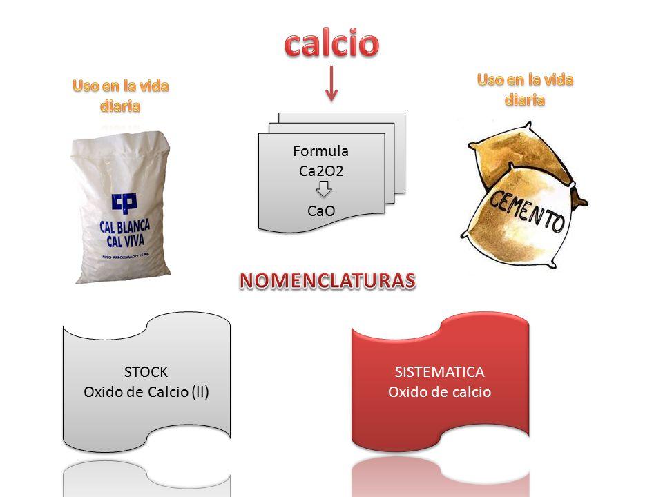 calcio NOMENCLATURAS Uso en la vida diaria Uso en la vida diaria