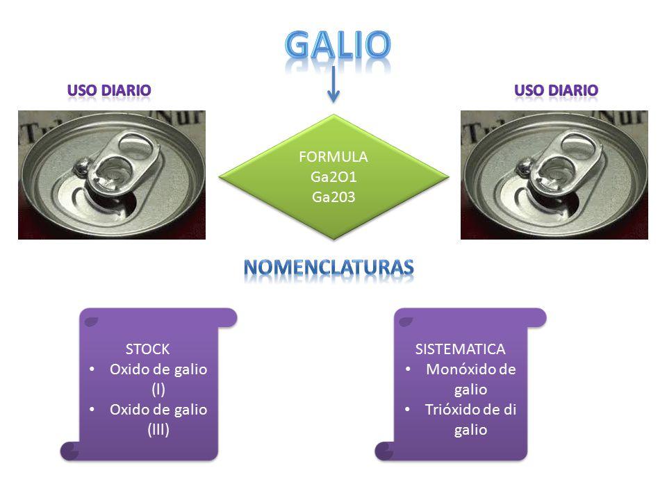 galio Nomenclaturas Uso diario Uso diario FORMULA Ga2O1 Ga203 STOCK