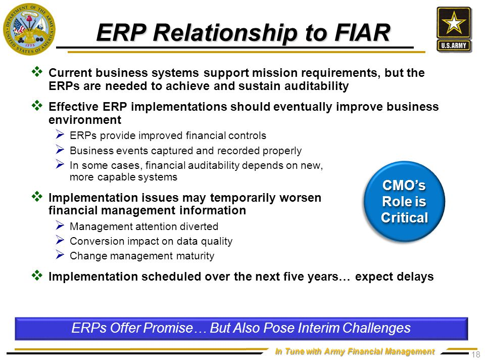 ERP Facts & Benefits Key enabler for auditability and visibility/transparency.