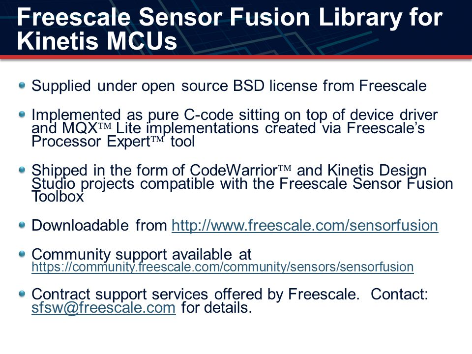 Freescale Sensor Fusion Library for Kinetis MCUs