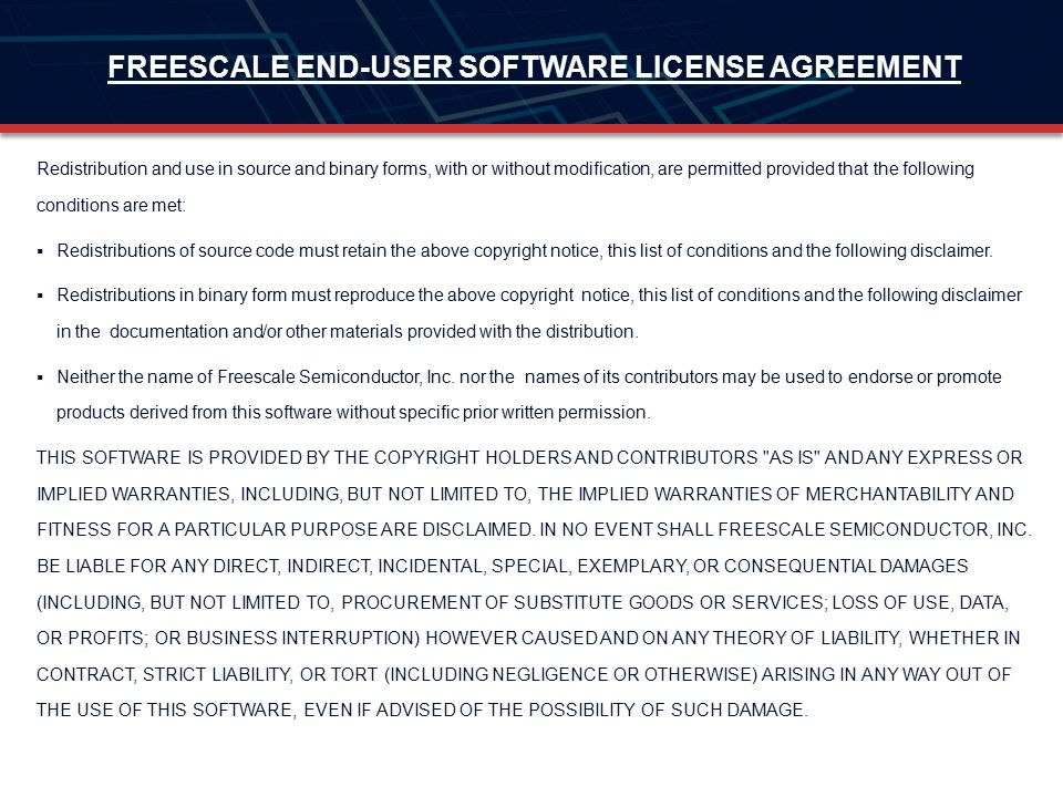 FREESCALE END-USER SOFTWARE LICENSE AGREEMENT