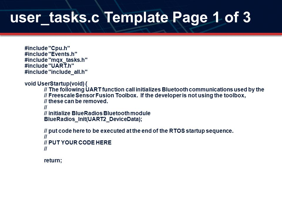 user_tasks.c Template Page 1 of 3