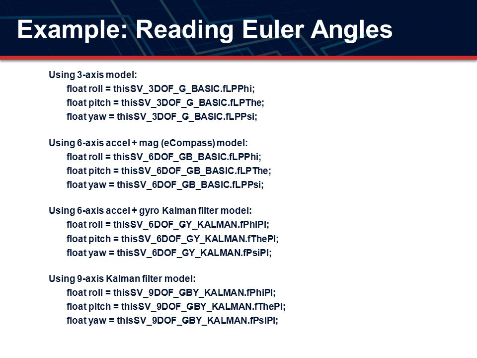 Example: Reading Euler Angles