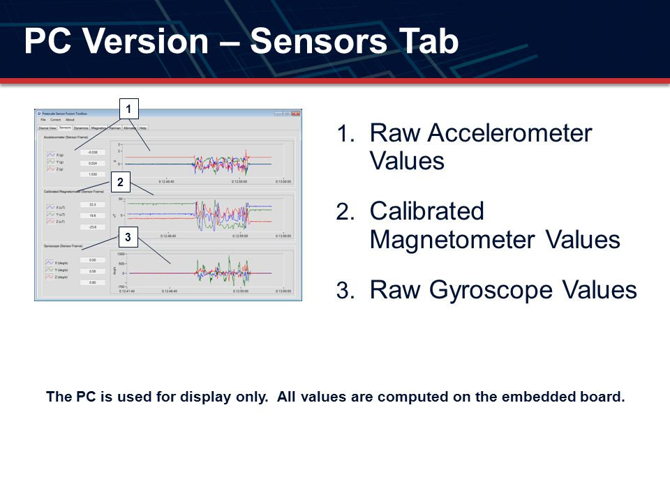 PC Version – Sensors Tab